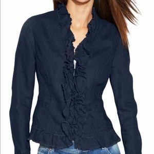 INC International Concepts Black Ruffle Jacket